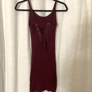 Maroon Sleeveless Ribbed Dress w/ Lace Up Detail